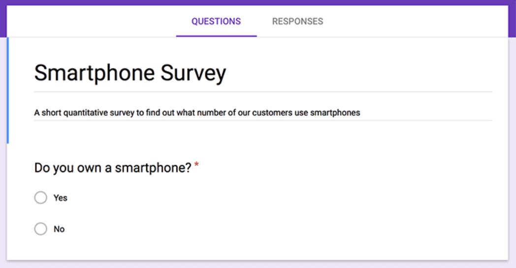 Smartphone survey asking if you own a smartphone