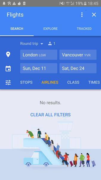 Cuplikan layar aplikasi penerbangan Google