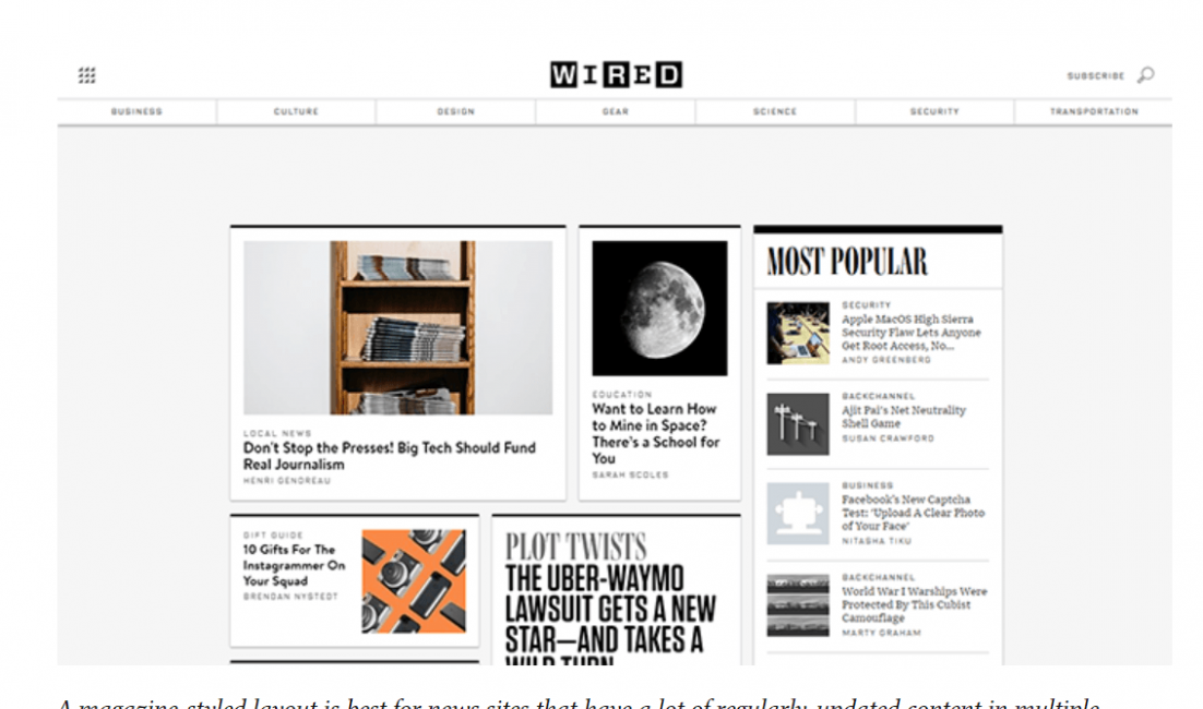 Screenshot of the Wired homepage