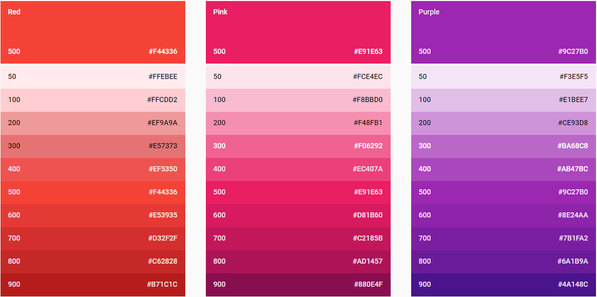 three color swatches from material design