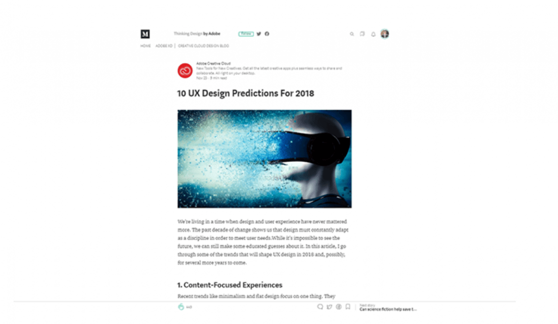 Screenshot of the blogging platform, Medium