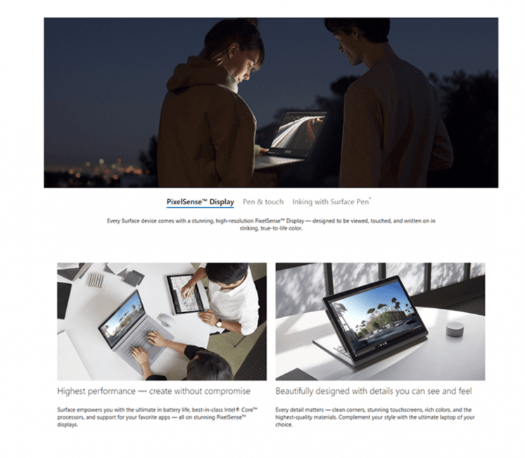 Screenshot from the Microsoft Surface website