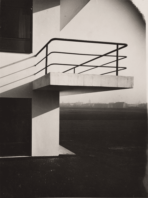 1925 Detail of a studio wing balcony on a Bauhaus building.