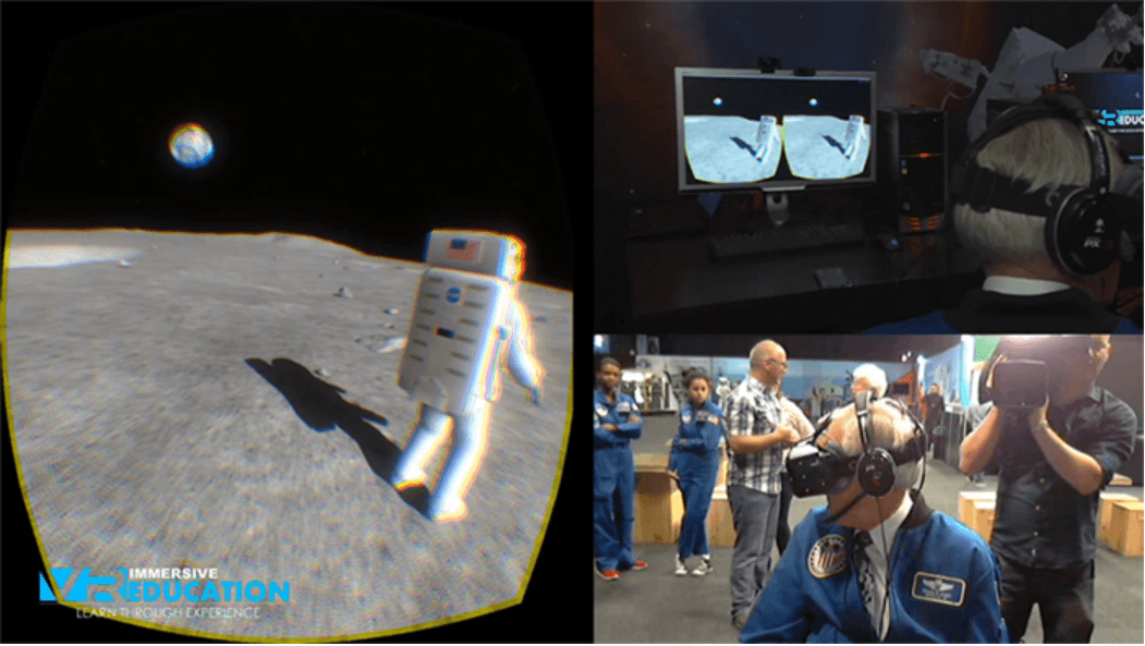 Man using virtual reality to explore the moon