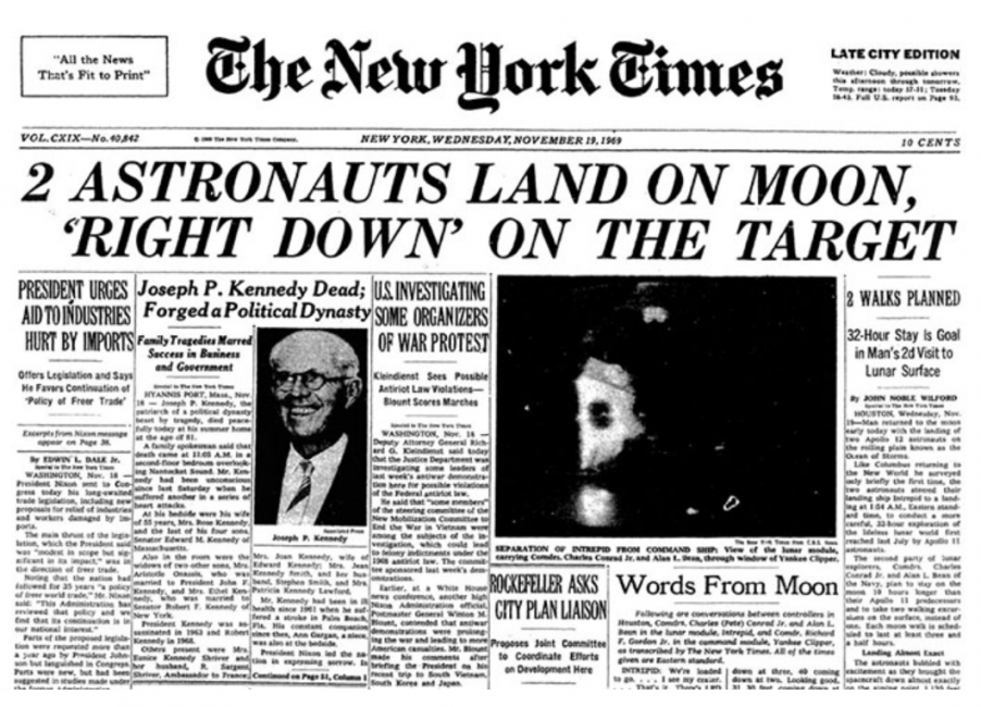 The front page of The New York Times from November 19th, 1969