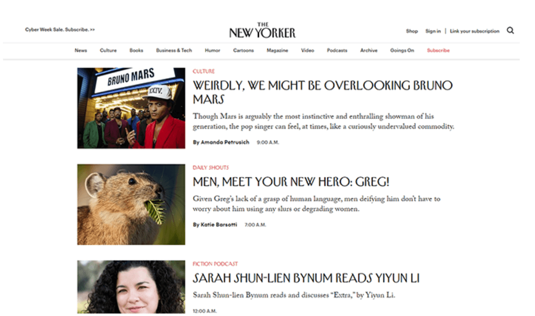Screenshot of The New Yorker homepage