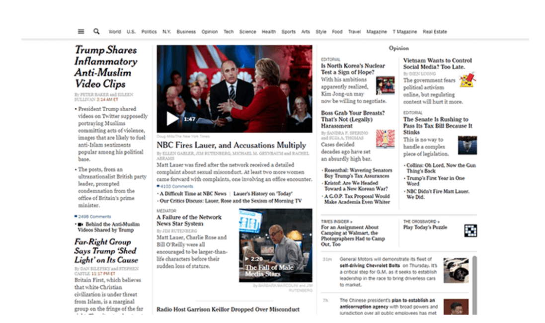 Screenshot of the New York Times homepage