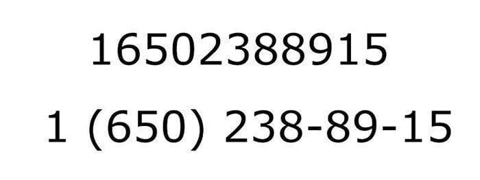 Correct and incorrect formats of a phone number