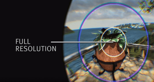 Virtual reality view of the main-focus point in full resolution while the rest of the area is degrading