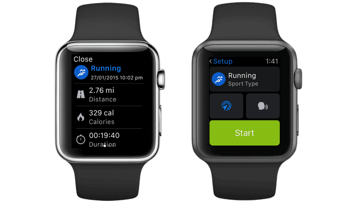 Two smartwatches using color to contrast against dark background.