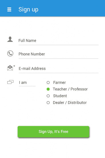 sign-up screen on webpage