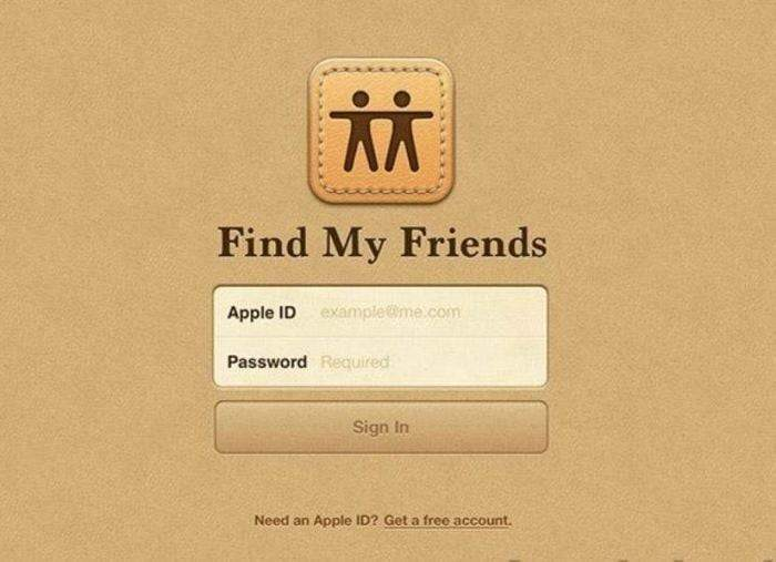 The old sign in screen for the Find My Friends app
