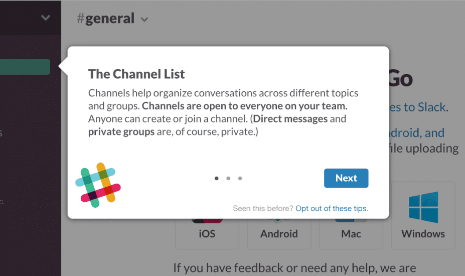 contextual tips in slack