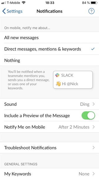 Screenshot of Slack's notification preferences page