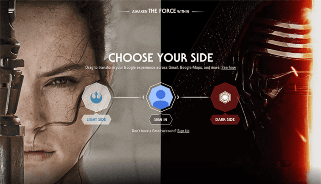 split screen layout of Google Star Wars Customizations