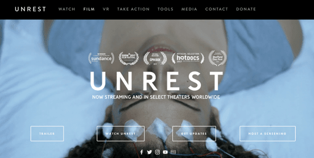 A screenshot of the Unrest film homepage