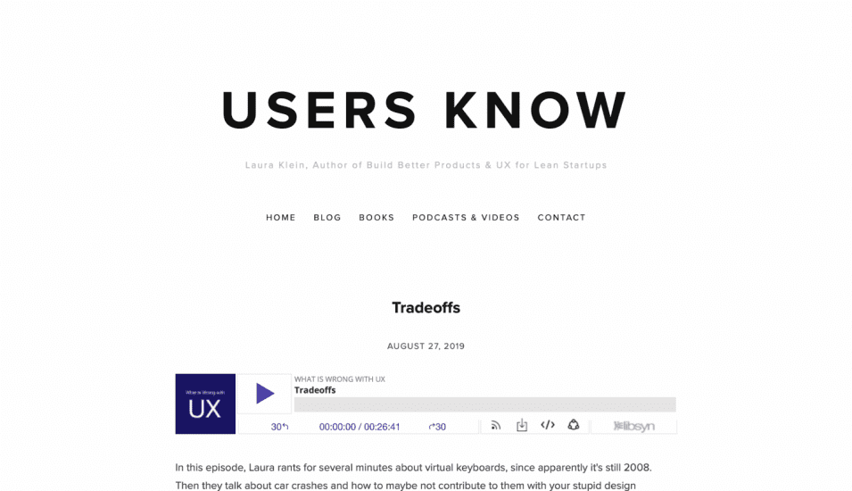 Screenshot of clean menu for User Know