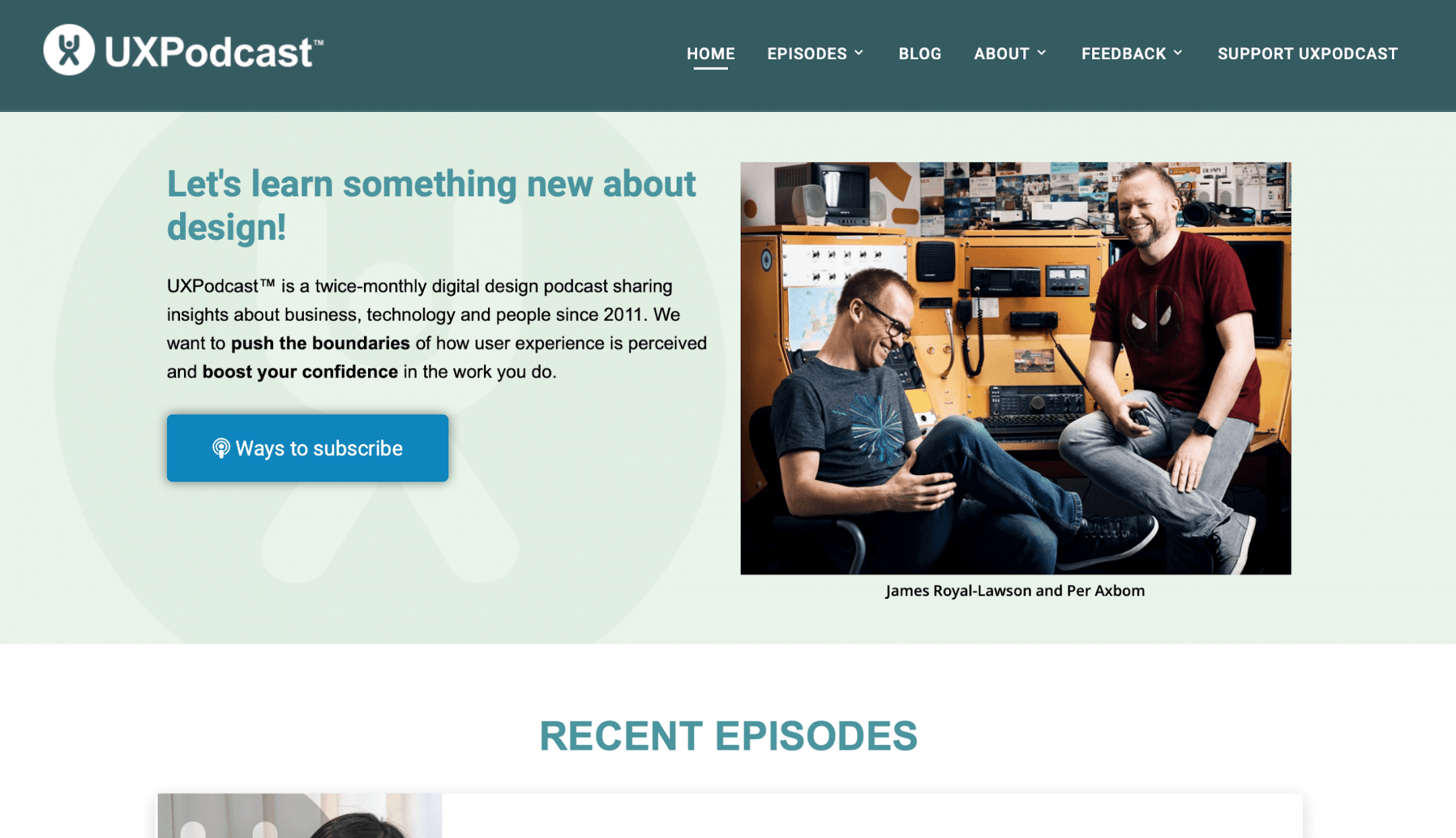 A screenshot of the UXPodcast homepage