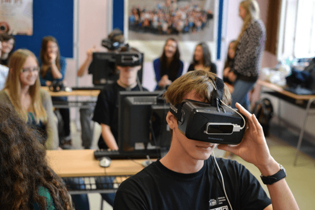 Student using virtual reality at school