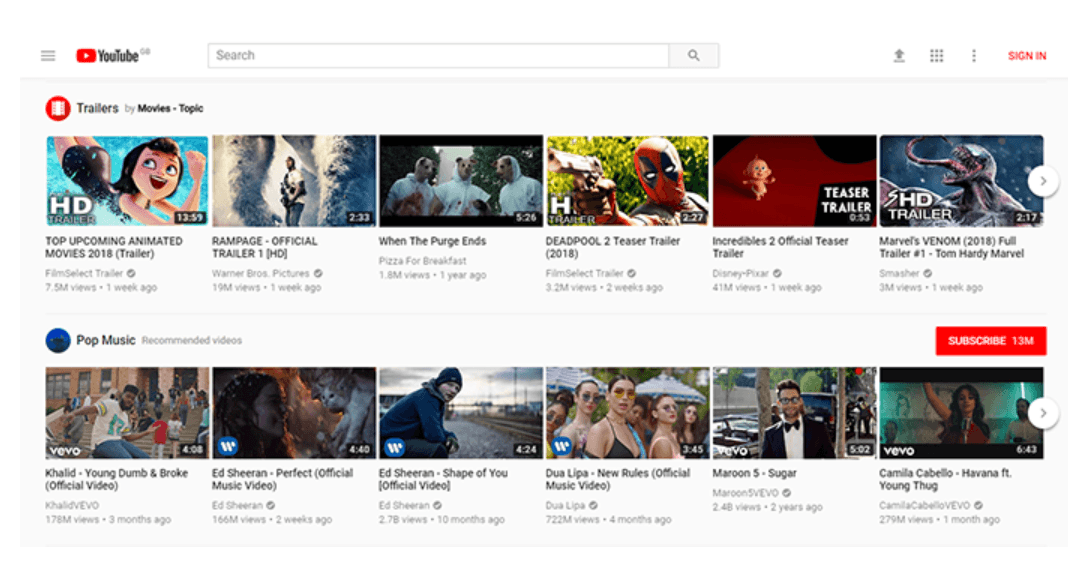 Screenshot of Youtube grid layout