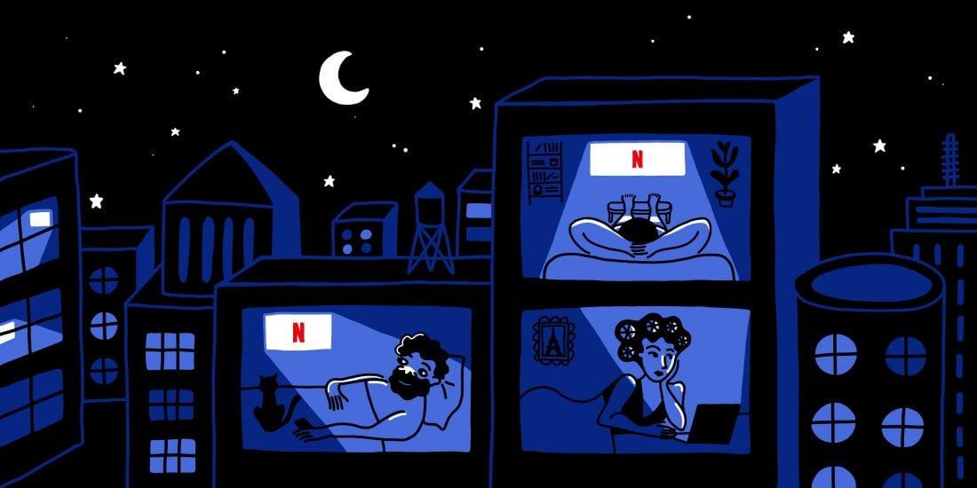 Illustration of people watching TV at home