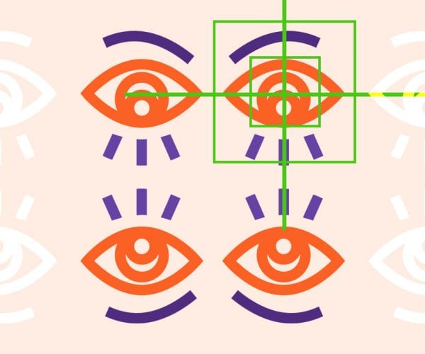 Illustration of four eyes with a square box around one eye.