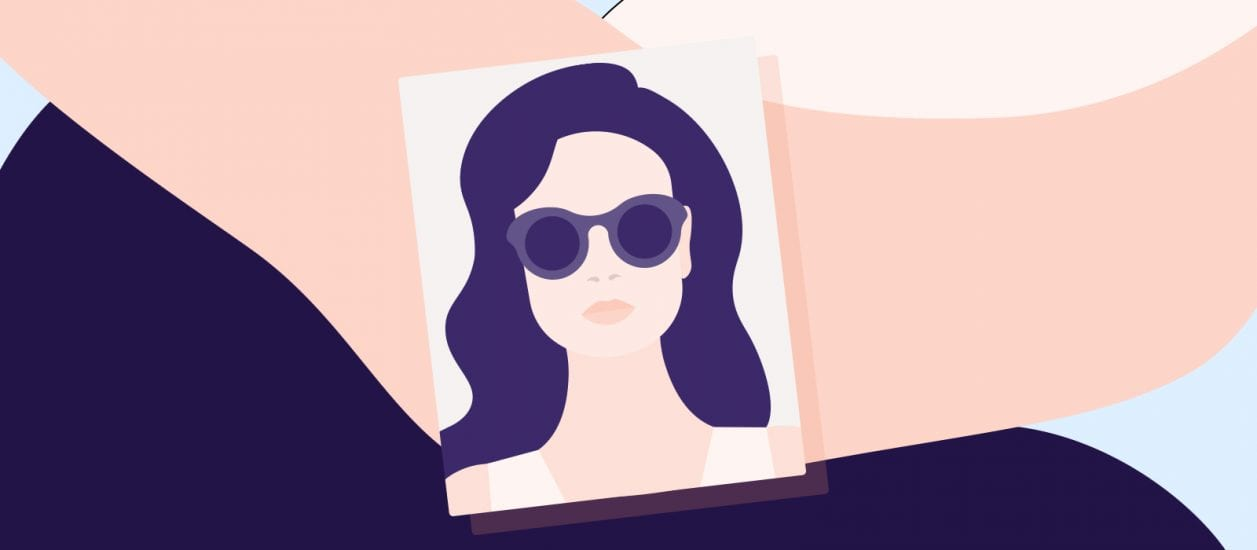 Illustration of a woman wearing sunglasses