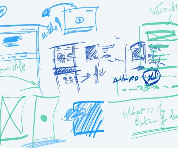 Blue and green colored diagrams of different screens sketched on a whiteboard.