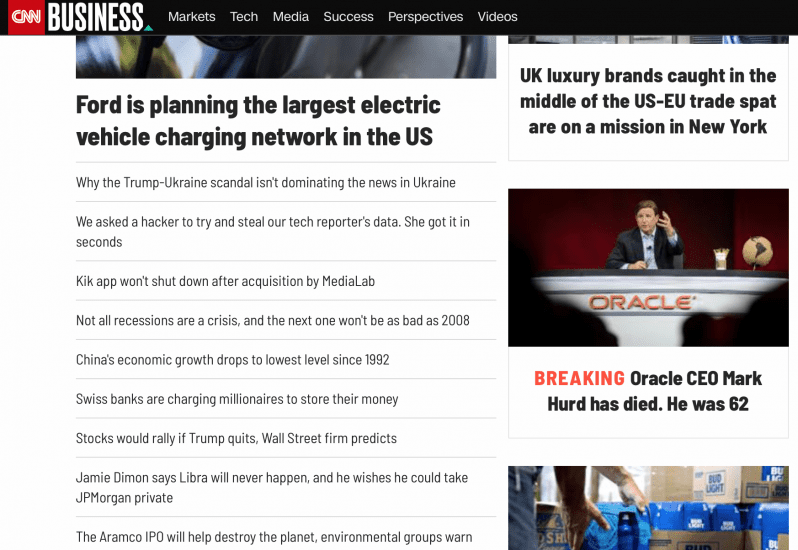 CNN's business page has sub-topics like markets, tech, media, etc.