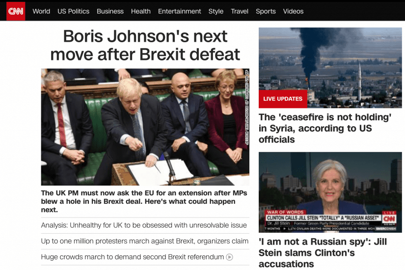 CNN's homepage shows content grouped by categories such as World, US Politics, Business, Health, etc.