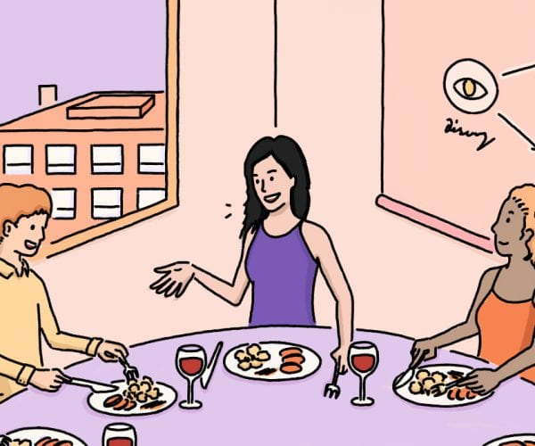 An illustration of one of Julia Feld's popular community dinner parties.