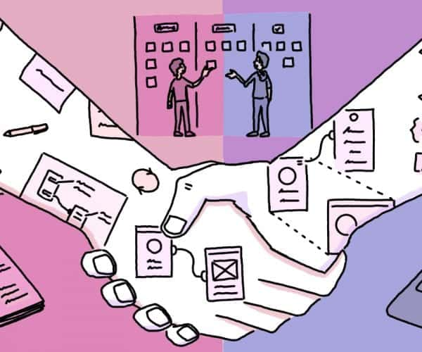 An illustration depicting the arm of design and the arm of development shaking hands in collaboration.