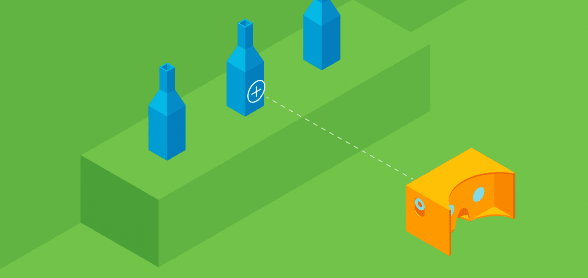 Graphic design of Google's cardboard headset viewing one of three blue bottles.