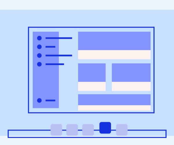 Illustration of layout for a desktop application on a computer screen