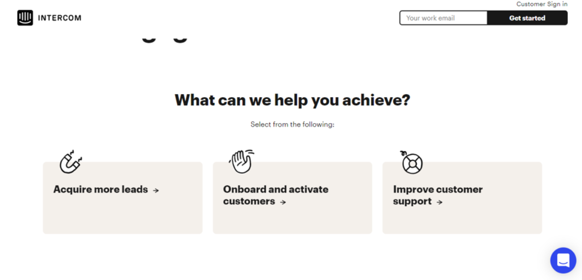 Screenshot of Intercom's website and the customer service help section with smaller boxes for specific needs.