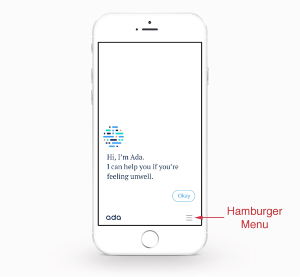 Applications will have their own navigation menus, an example is for ada with iOS.