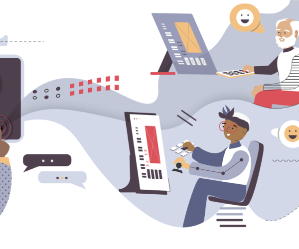 Illustration depicting the role of design systems in supporting users using assistive devices and keyboard triggers to interact with interfaces.
