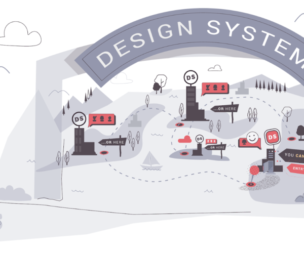 An illustrated representation of a design system's ecosystem within an organization.