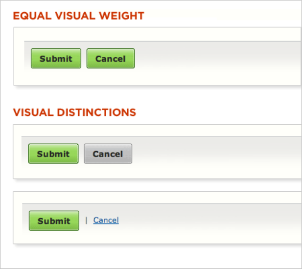 The difference between equal visual weight and visual distinctions.