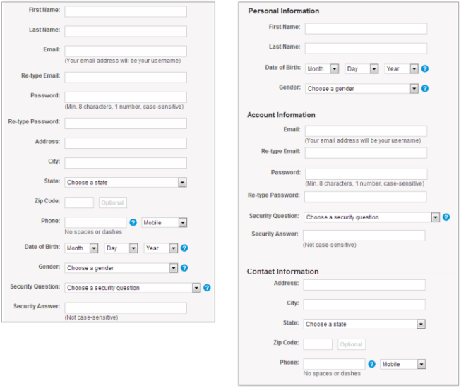 When creating forms, group together related fields for better user experience