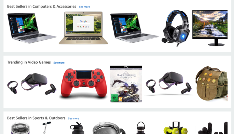 Screenshot of website's different category pages filled with various technology.
