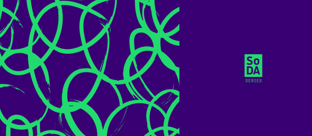An abstract image of green circular squiggles on a blue background