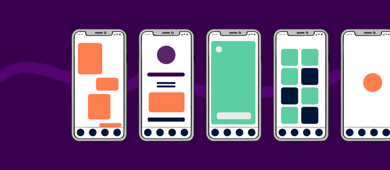 A series of illustrated mobile app wireframes with different screen layouts on a purple background.