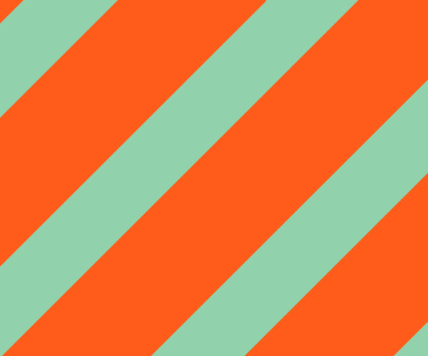 The AIGA logo on an orange and teal diagonal background pattern.