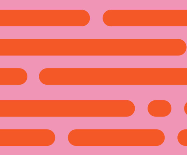 The AIGA logo on a pink and orange dash and dot background pattern.