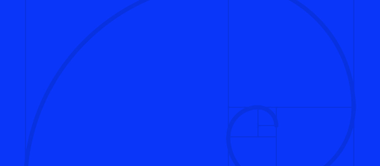 A low opacity fibonacci spiral on a blue background.
