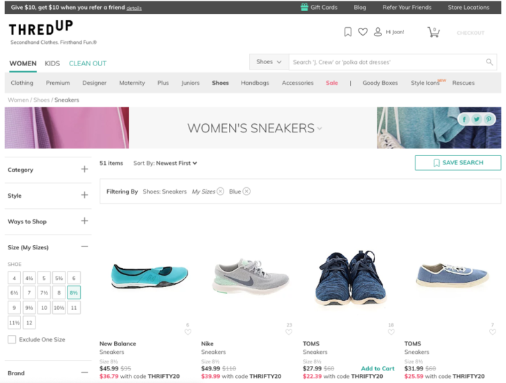Popular second hand retailer, ThredUp, e-commerce page for shoes