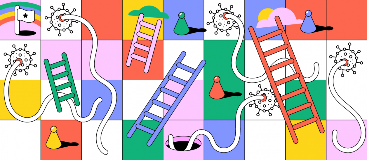 Covid-19 illustration as a popular board game snakes and ladders with fun and bright colors.