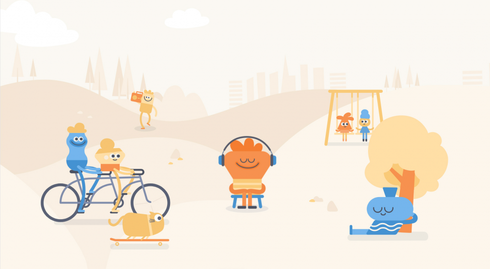 Illustration for Headspace, a mindfulness and meditation app.