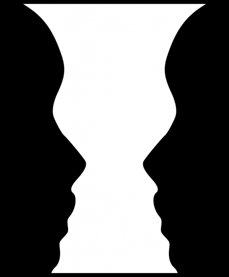 The foreground shows  two profiles in one color. The background between them is another color and looks like a vase. Image credit Wikipedia.